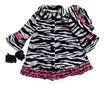 Bonnie Baby Baby-Girls Infant Zebra Fleece Coat and Hat Set, Black/White, 18 Months