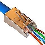 UbiGear RJ45 Pass Through Network Cable Modular Plug 8P8C Connector End (1000pcs; Cat6; Shielded) (Color: 1000pcs; Cat6; Shielded)