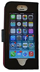 Iphone 5 wallet Case Forward Facing Cell Wallet By iBRiD BLACK Outside BLACK Inside. Genuine Leather Smooth durable also works with 5s 5c luxury cell phone wallet