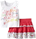 Calvin Klein Girls 2-6x Top With Skort, White, 3T