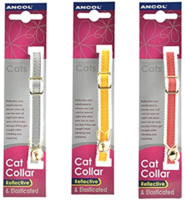 3 X Ancol Reflective Elasticated Cat Collars Bulk Buy Save Money