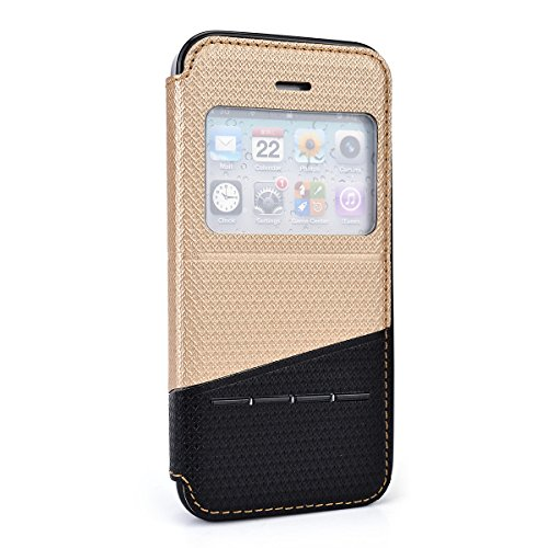 Gold | Grey Apple Iphone 5 , 5S Just Fit Flip Case W/ Stand Bonus Ekatomi Screen Cleaner