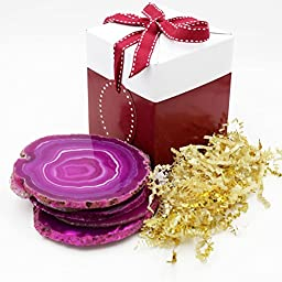 Brazilian Agate Drink Coasters Set of 4 - Extra Quality (Pink) With Free Deluxe Gift Box