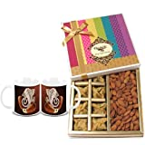 Chocholik Belgium Chocolates - Sinful Treat Of Baklava And Almonds Gift Box With Diwali Special Coffee Mugs -...