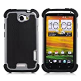 32nd® Shock proof case cover for HTC One X + screen protector, cleaning cloth and touch stylus - Grey