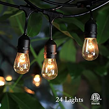 SHINE HAI Outdoor String Lights With 24 Dropped Sockets (26 Bulbs Included) Weatherproof Commercial Grade String Lights Perfect for Patio Lights Party Lights & More, 48 FT String