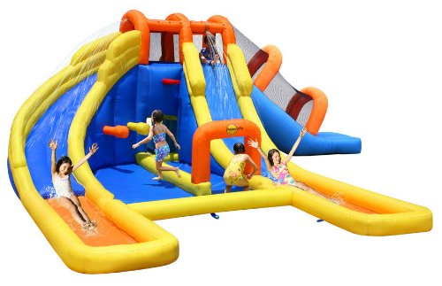 Duplay Happy Hop Mega Fun 24ft Water Park Bouncy Castle Inflatable Twin Water Slide Picture