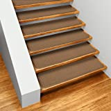 Set of 15 Skid-resistant Carpet Stair Treads - Toffee Brown - 8 In. X 30 In. - Several Other Sizes to Choose From