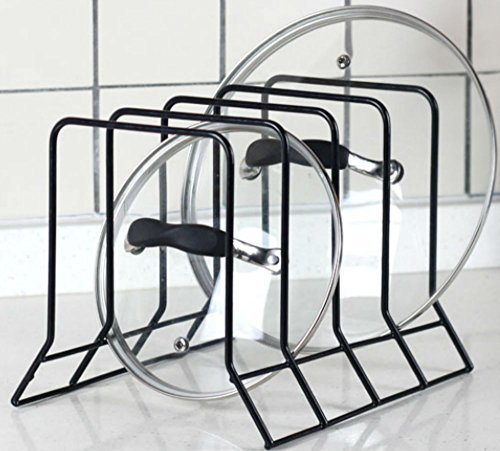 Kitchen Bakeware Pot Lid Rack Holder Organizer (Black) (Pot Rack Holder compare prices)