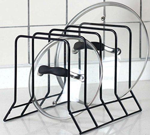 Kitchen Bakeware Pot Lid Rack Holder Organizer (Black) (Lid Organizer Rack compare prices)