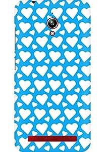 AMEZ designer printed 3d premium high quality back case cover for Asus Zenfone Go (sky blue white hearts)