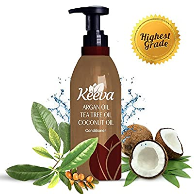 #1 Best Deep Organic Conditioner with Tea Tree Oil, Argan Oil and Coconut Oil 3-in-1 Formula by Keeva - 100% Natural Ingredients - Perfect for Moisturizing Damaged, Dry, Curly, Color Treated Hair
