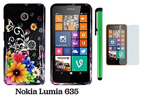 Nokia Lumia 635 Premium Pretty Design Protector Hard Cover Case (Us Carrier: T-Mobile, Metropcs, And At&T) + Screen Protector Film + 1 Of New Assorted Color Metal Stylus Touch Screen Pen (Cute Yellow Pink Chromatic Flower Black Silver Butterfly)