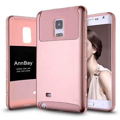 Note Edge Case,AnnBay for Samsung Galaxy Note Edge 2in1 Series Heavy Duty armor Hard Cover Case Hybrid Soft Silicone TPU Case(Rose Pink) (Galaxy Note Edge Cell Phone Case compare prices)