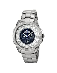 "JBW-Just Bling Men's JB-6212-200-B ""Excalibur"" Champagne Silver Stainless Steel Multifunction Diamond Watch"