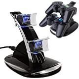 HDE Black Charger Charging Dock Stand for Sony Playstation PS3 Controller w/ Dual USB Ports