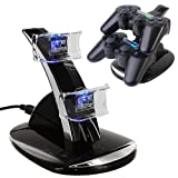 HDE Black Charger Charging Dock Stand for PS3 Controller w/ Dual USB Ports