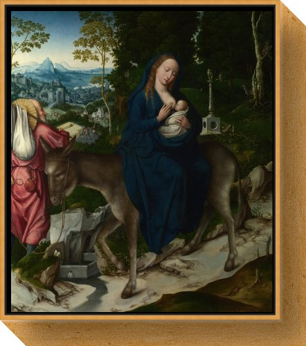 The Flight Into Egypt. Panel From An Altarpiece By Unknown Framed Canvas front-982398