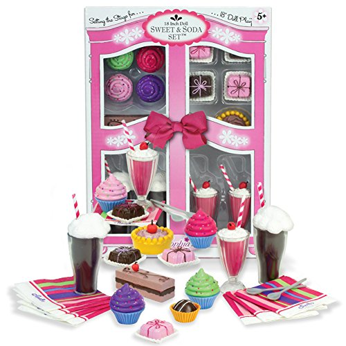 Complete 27 Pc Doll Accessory Food Set, 15 Sweet Treats & Spoons & Paper Napkins, 18 Inch Doll Pretend & Play Doll Accessory Set; Floats, Shakes, Cupcakes & More in Decorative Keepsake Box by Sophia's (American Girl Food compare prices)