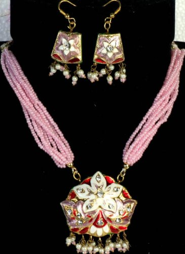 Pink Star-Spangled Necklace and Earrings with Peacocks on Reverse - Lacquer with Cut Glass