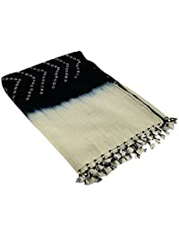 Black Cream Shawl Wrap For Women Indian Woolen Handmade Tie-Dye Gifts For Girlfriend 36X80 Inch