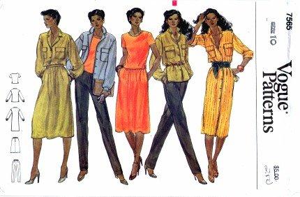 Vogue 7565 Sewing Pattern Misses Shirt Dress T-Shirt Skirt Pants Size 10 Bust 32 1/2