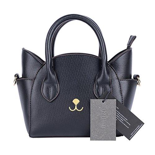 QZUnique Women's Summer Fashion Top Handle Cute Cat Cross Body Shoulder Bag Black (Amazon Purses compare prices)