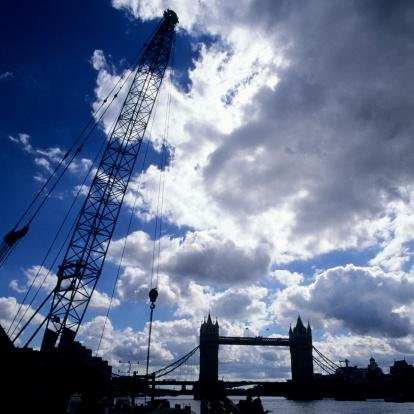 Silhouette of Tower Bridge and a Crane, London, Uk - 42