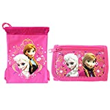 Frozen Elsa and Anna Pink String Bag and Wallet - Great Gift Set for Girls
