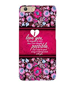 Beautiful Love Message 3D Hard Polycarbonate Designer Back Case Cover for Micromax Canvas Knight 2 E471