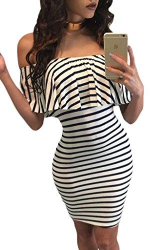 Astylish Womens Brief Off Shoulder Striped Bodycon Casual Ruffles Mini Dress Medium