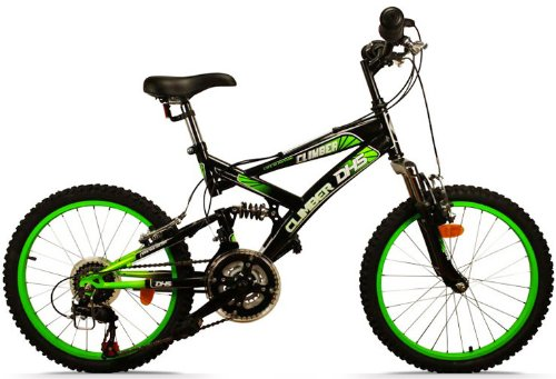 mountainbike 20 zoll climber vollgefedert 18 gang kinderfahrrad farbe kawasaki gr n fahrrad. Black Bedroom Furniture Sets. Home Design Ideas