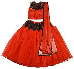 Angel Wears Girls' Net Lehenga Choli (Aw015_2-3 Years, Red and Black, 2-3 Years)