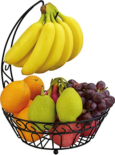 Surpahs Countertop Fruit Basket Stand w/ Removable Banana Hanger (Fruit Bowl With Banana Hanger compare prices)