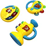 Ver-Baby 3 In 1 Musical Childrens Kids Toy Set Piano Tambourine & Trumpet Activity Toy Set For Tons Of Fun