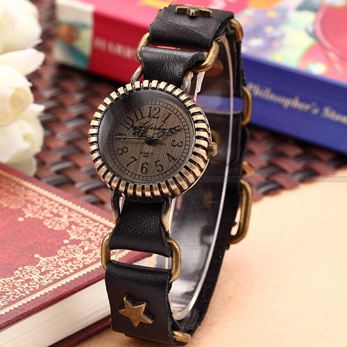 AMPM24 Retro Bronze Case Lady Women Stars Bracelet Black Leather Quartz Wrist Watch