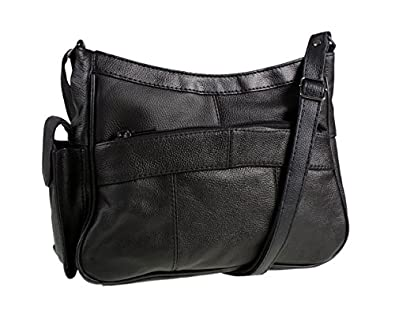 Black Leather Shoulder Bag With Pockets 87
