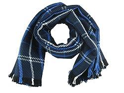 Honour Fashion Unisex Soft Stripe Two-Sided Wrap Scarf Blue Onesize