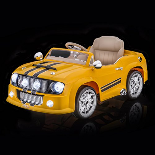 SPORTrax Mustang Style GT5000 Kid's Ride On Car, Battery Powered, Remote Control, Yellow (Mustang Battery Car compare prices)