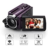 4K Camera Camcorder, Eamplest WiFi Ultra HD Video Camera 48MP 16X Digital Zoom Night Vision Handheld Camcorders with 3