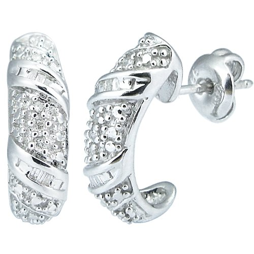 Sterling Silver Diamond Earrings (0.10 cttw, I-J Color, I2-I3 Clarity)