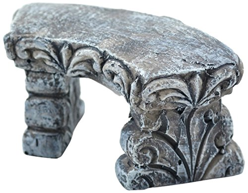 Touch Of Nature 1-Piece Miniature Garden Resin Stone Bench, 3-Inch