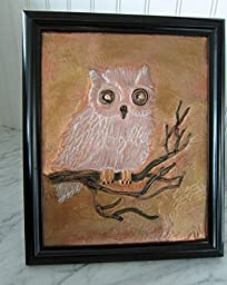 Original copper hand embossed art of a OWL sitting on a branch