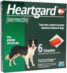 Heartgard Chewables Canine (Green) - 26-50 lbs - 6 count