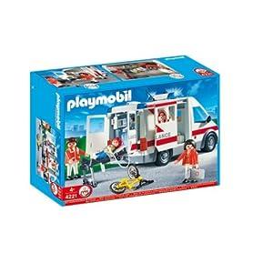 Playmobil - 4221 - Jeu de construction - Ambulanciers / blessé / véhicule