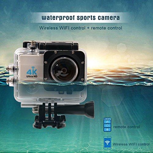 inkint 2,0 Pouces 4K 16 Mégapixels Etanche Caméra avec 170°Grand Ongle+30m Etanche + 2.4G Sans Fil Télécommande + Wifi + 3 Modes Vidéo et 4 Modes de
