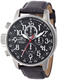 Invicta 11519 Men's I Force Lefty Black Dial Grey Leather and Canvas Strap Stainless Steel Chronograph Watch
