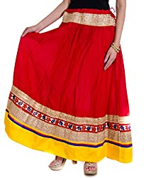 Rangsthali cotton Party Wear with Heavy lace Border in Waist with Bottom long skirt
