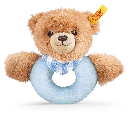Steiff 239601 - Schlaf Gut Bär Greifring, 12 cm, blau
