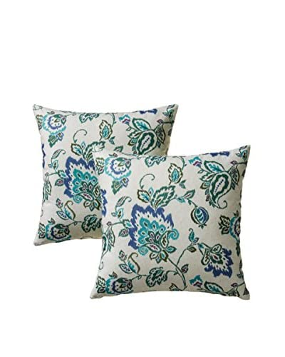 Colorfly by Belle Masion Set of 2 Dharma Pillows, Lagoon